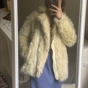 white/off white fur coat